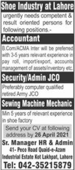 Shoe Company Jobs 2021 in Lahore