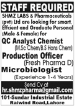 SHMZ Labs and Pharmaceuticals Jobs 2021 in Lahore