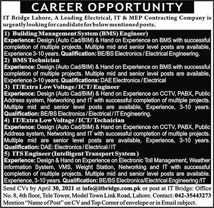 Engineering Staff Jobs 2021 in Lahore
