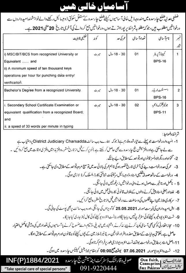 District & Session Court Jobs 2021 in Charsadda KPK