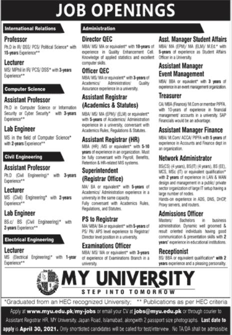 Muslim Youth MY University Jobs 2021 in Islamabad