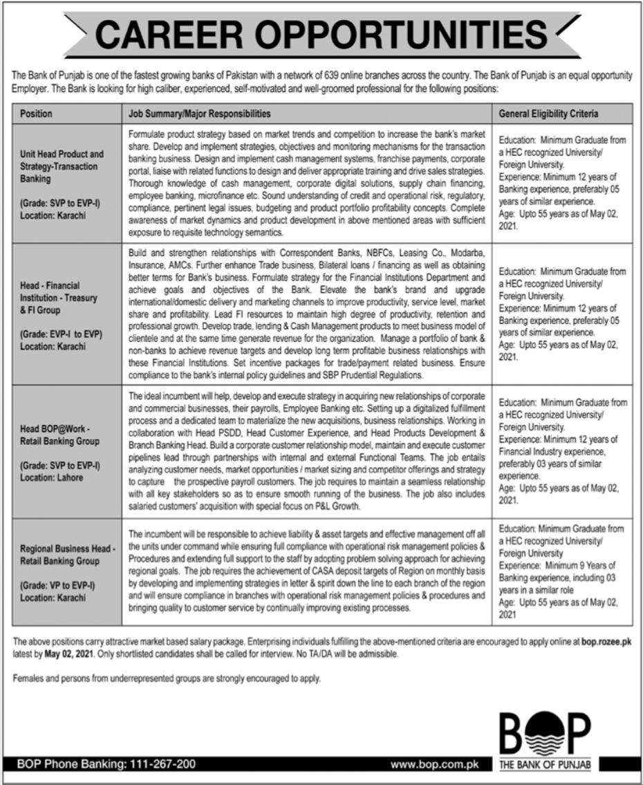 The Bank of Punjab BOP Jobs 2021