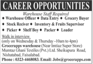 Mumtaz Ghani Textile Private Limited Jobs 2021