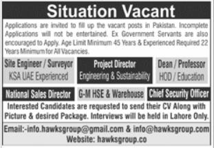 Hawks Group Jobs 2021 in Lahore