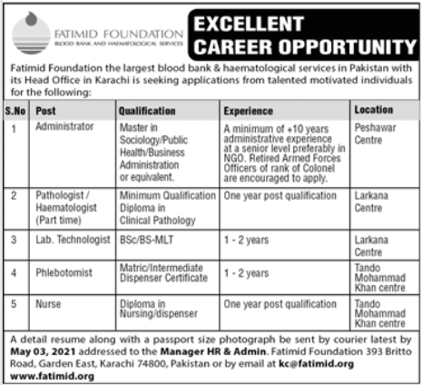 Fatimid Foundation NGO Jobs 2021 For Management Staff