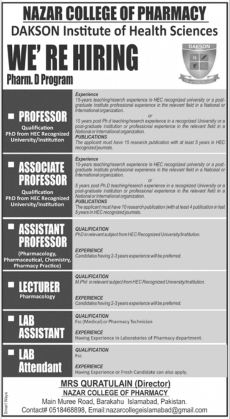 Nazar College of Pharmacy Jobs 2021 in Islamabad