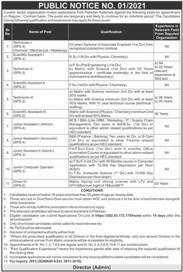 Public Sector Organization Jobs 2021 in Rawalpindi