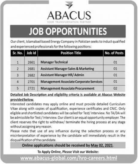 Abacus Global Jobs 2021 For Management Staff