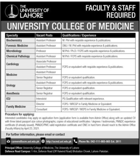 University of Lahore UOL Jobs 2021