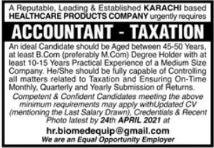 Healthcare Products Company Job 2021 in Karachi