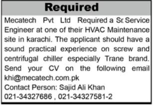 Senior Service Engineer Job 2021 in Karachi