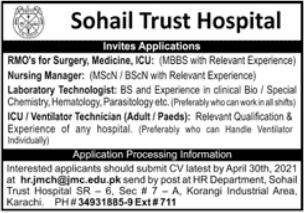 Sohail Trust Hospital Jobs 2021 in Karachi