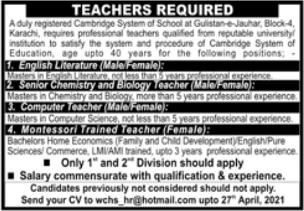 Cambridge System School Jobs 2021 For Teaching Staff