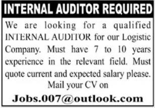Internal Auditor Job 2021 in Karachi