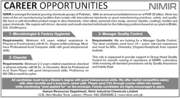 NIMIR Chemical Group Jobs 2021