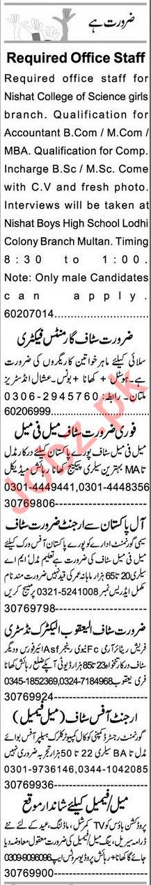 Express Sunday Multan Classified Ads 18 April 2021