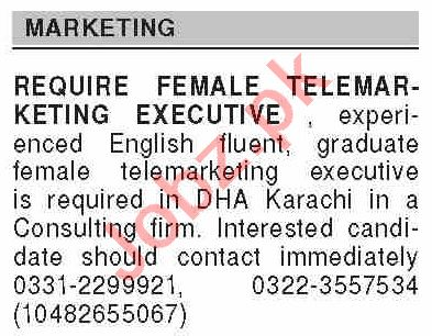 Dawn Sunday Classified Ads 18 April 2021 for Marketing Staff
