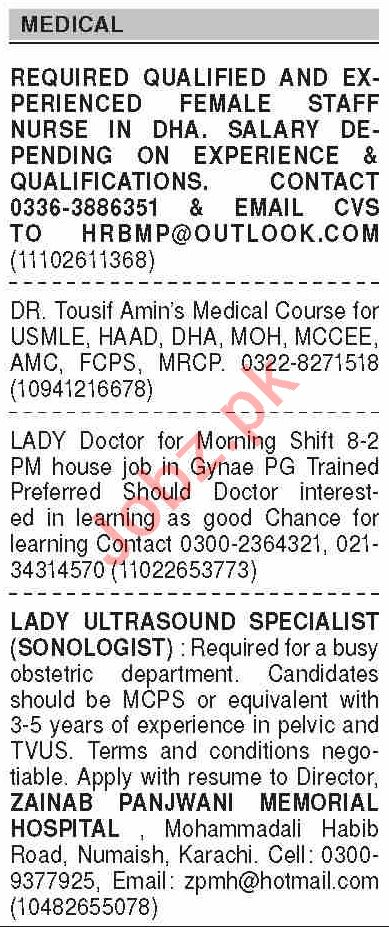 Dawn Sunday Classified Ads 18 April 2021 for Medical Staff