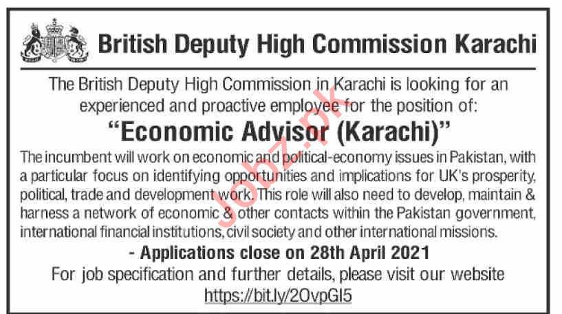 British Deputy High Commission Karachi Jobs 2021