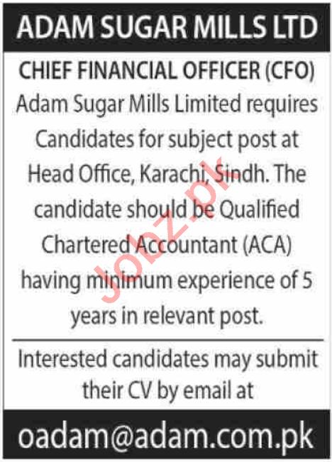 Adam Sugar Mills Jobs 2021 for Chief Financial Officer