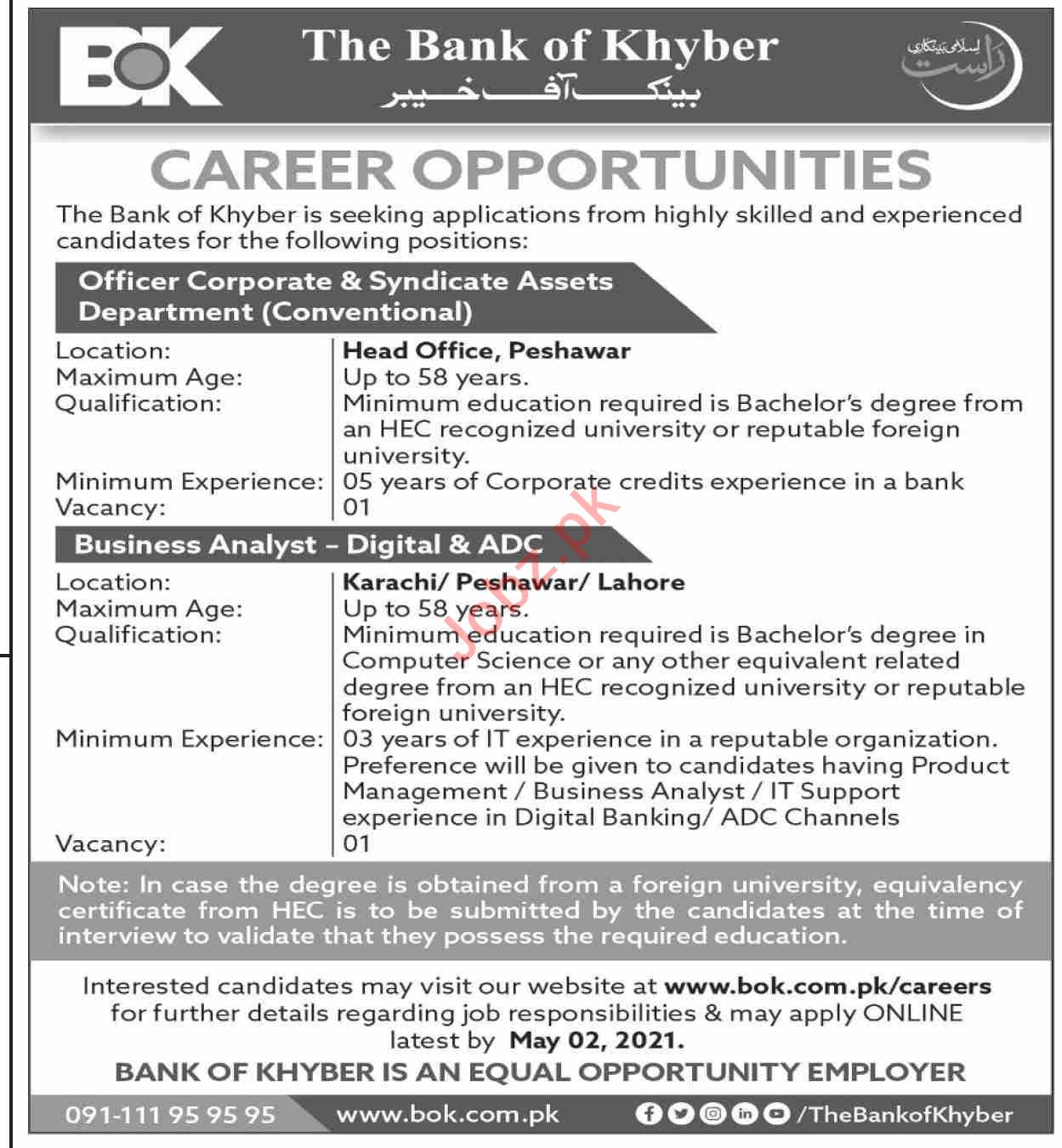 The Bank of Khyber BOK Jobs 2021 for Business Analyst