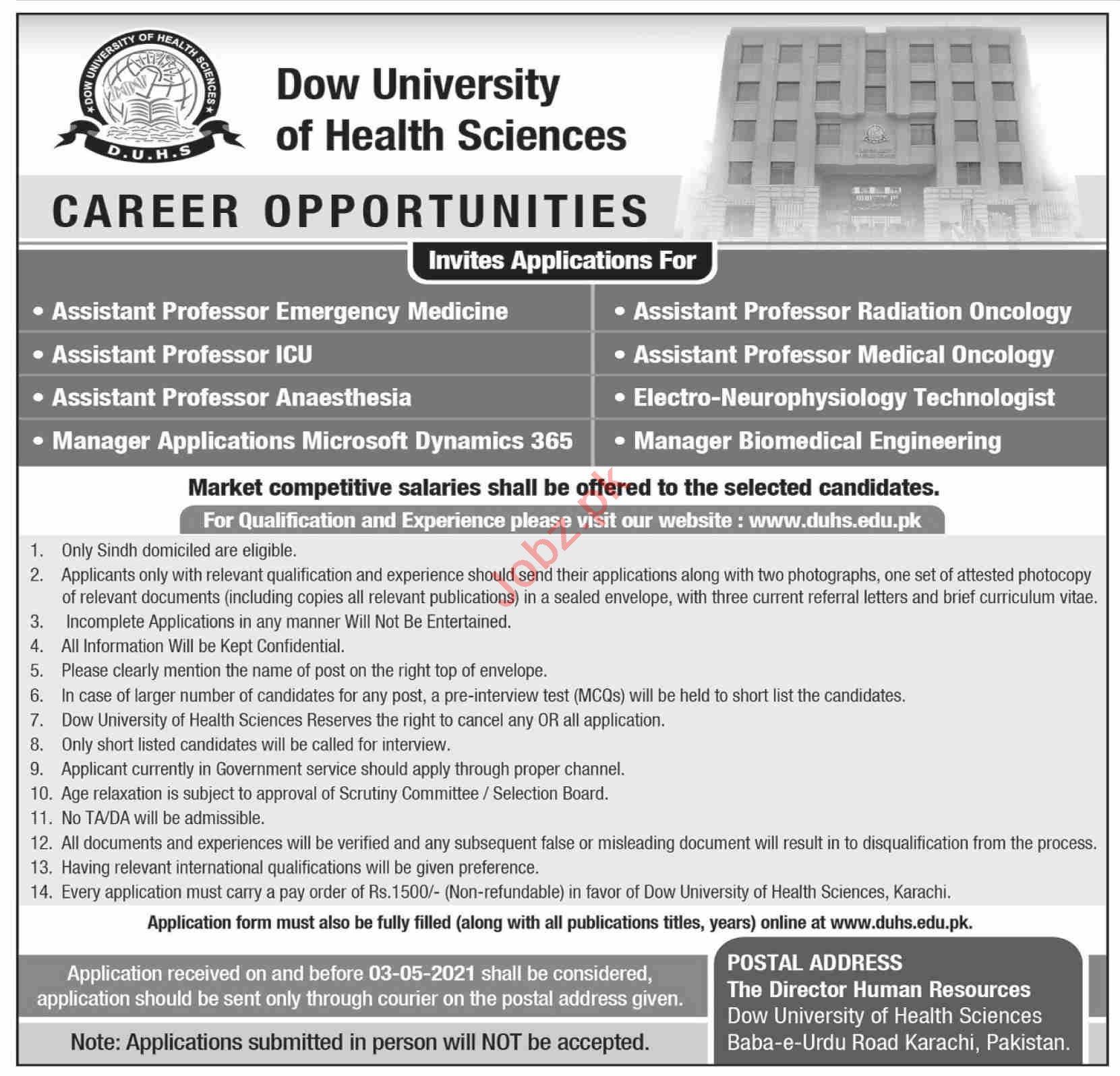 Dow University of Health Sciences DUHS Karachi Jobs 2021