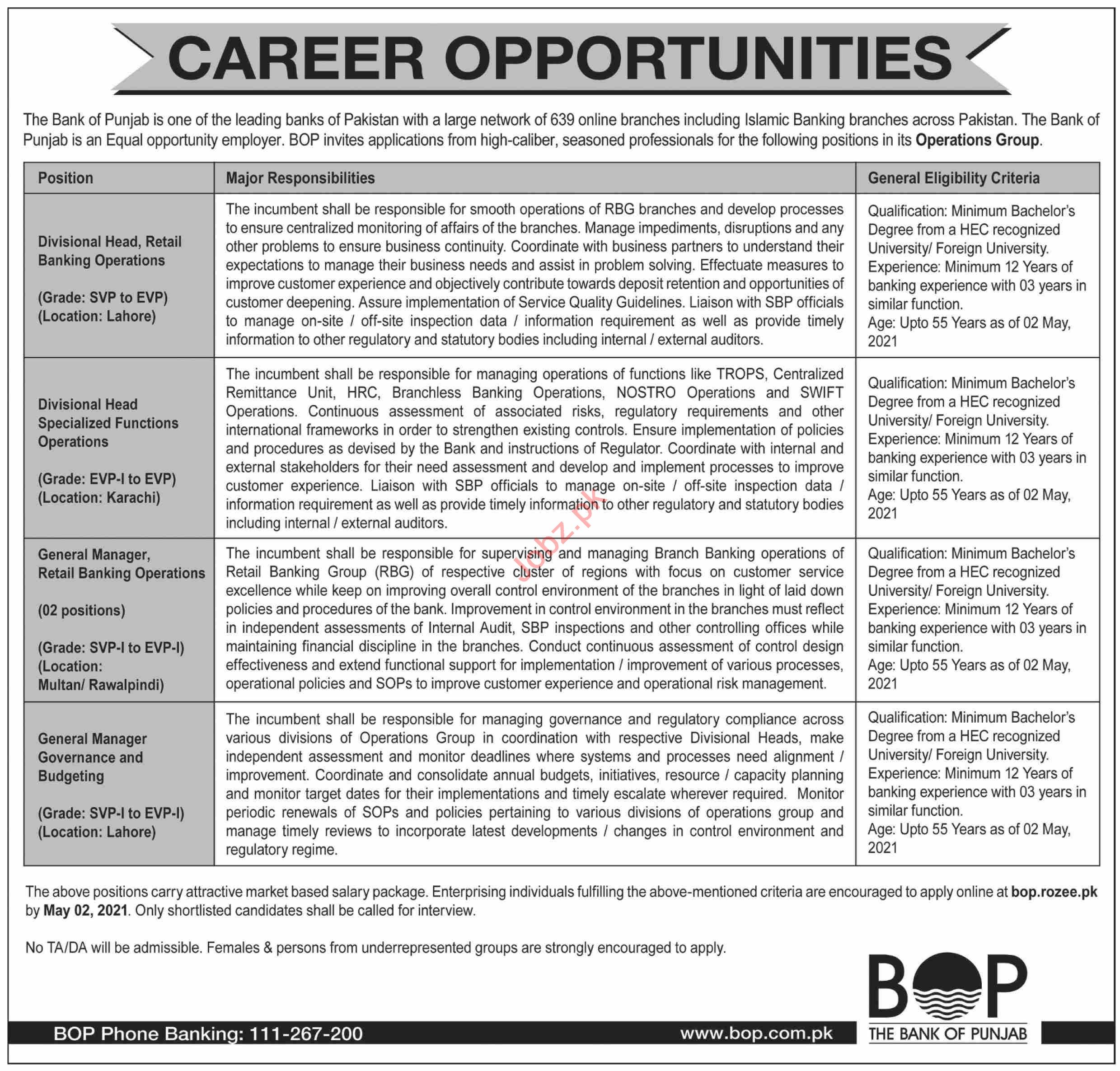Bank of Punjab BOP Jobs 2021 for Divisional Head & GM