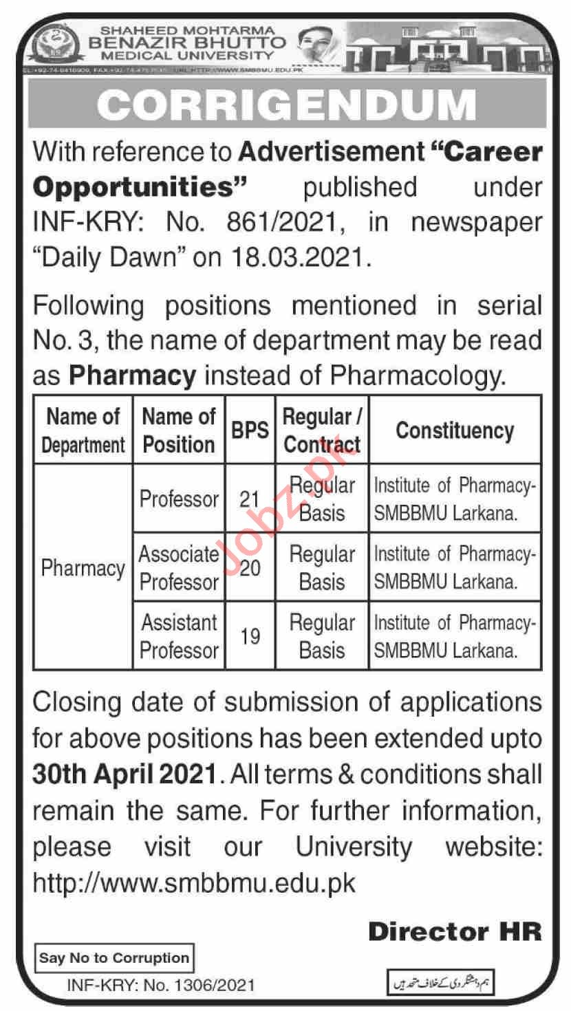 Mohtarma Benazir Bhutto Shaheed Medical College Jobs 2021