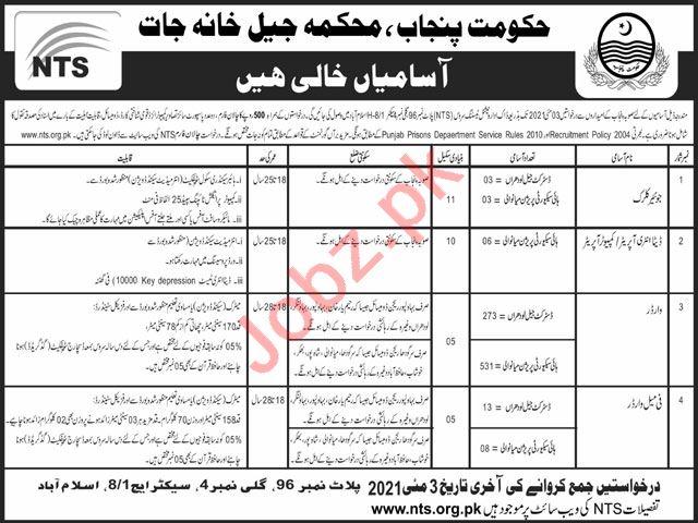 Punjab Prisons Department Jobs 2021 for Junior Clerks