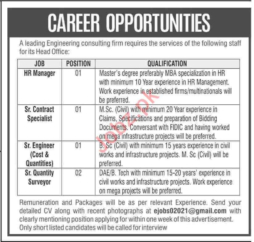 HR Manager & Senior Contract Specialist Jobs 2021