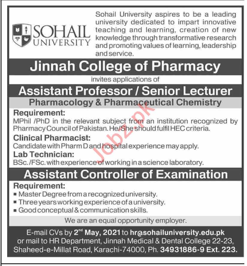 Jinnah College of Pharmacy Karachi Jobs 2021 for Professors