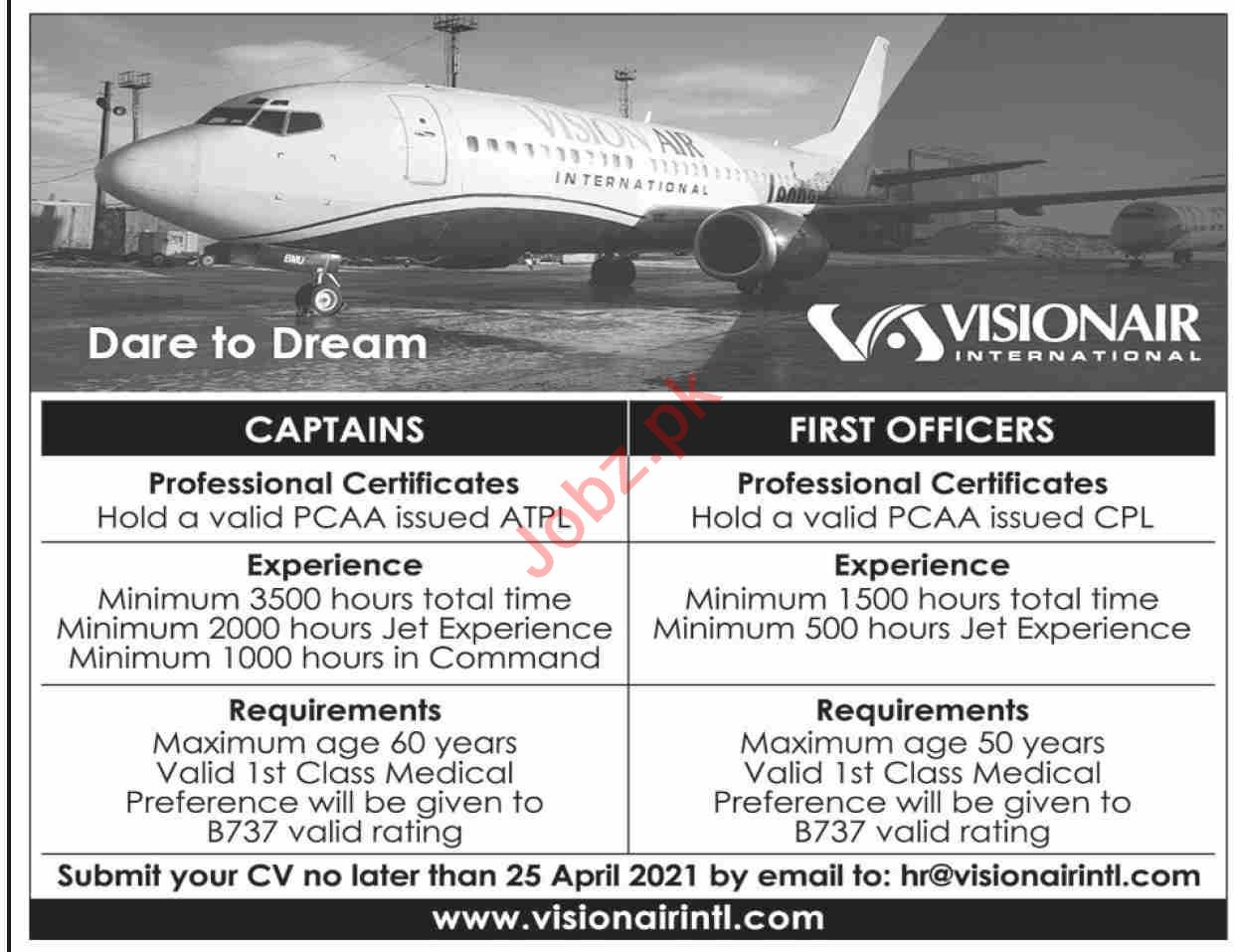 Vision Air International Jobs 2021 Captains & First Officers