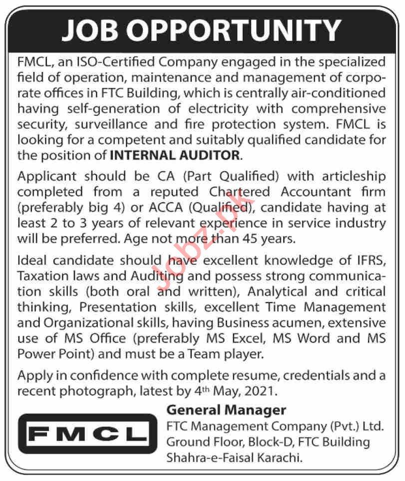FTC Management Company FMCL Karachi Jobs 2021