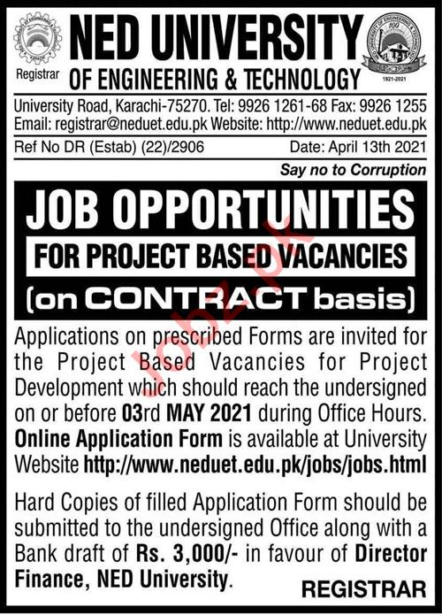 NED University of Engineering & Technology NEDUET Jobs 2021