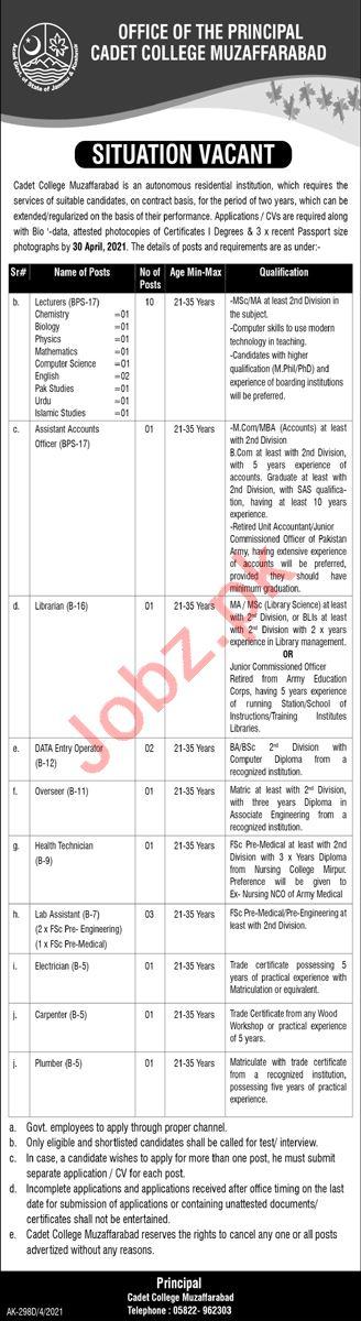 Lecturers Jobs 2021 in Cadet College Muzaffarabad CCM