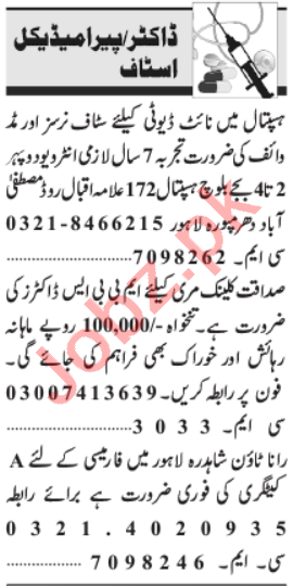 Medical Specialist & Pathologist Jobs 2021 in Lahore