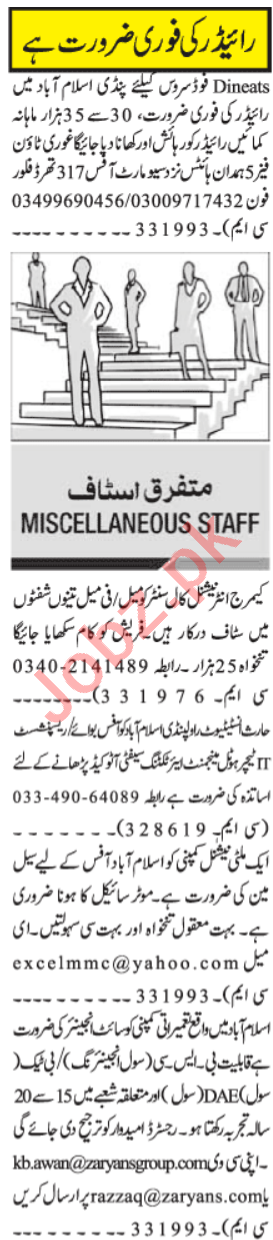 Site Engineer & Delivery Rider Jobs 2021 in Islamabad