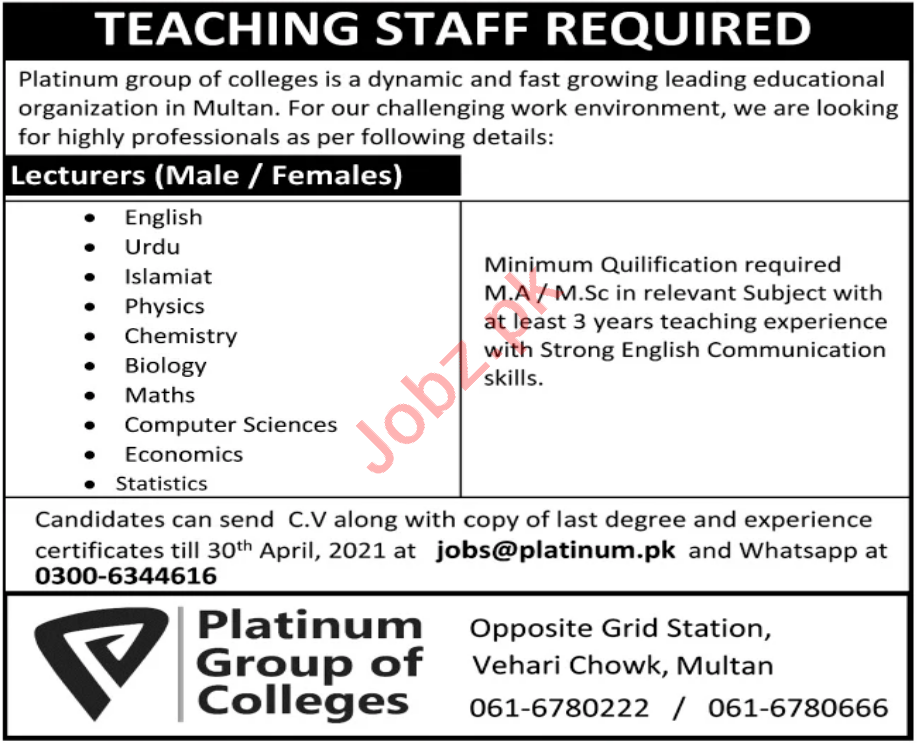 Platinum Group of Colleges Multan Jobs 2021 for Lecturers