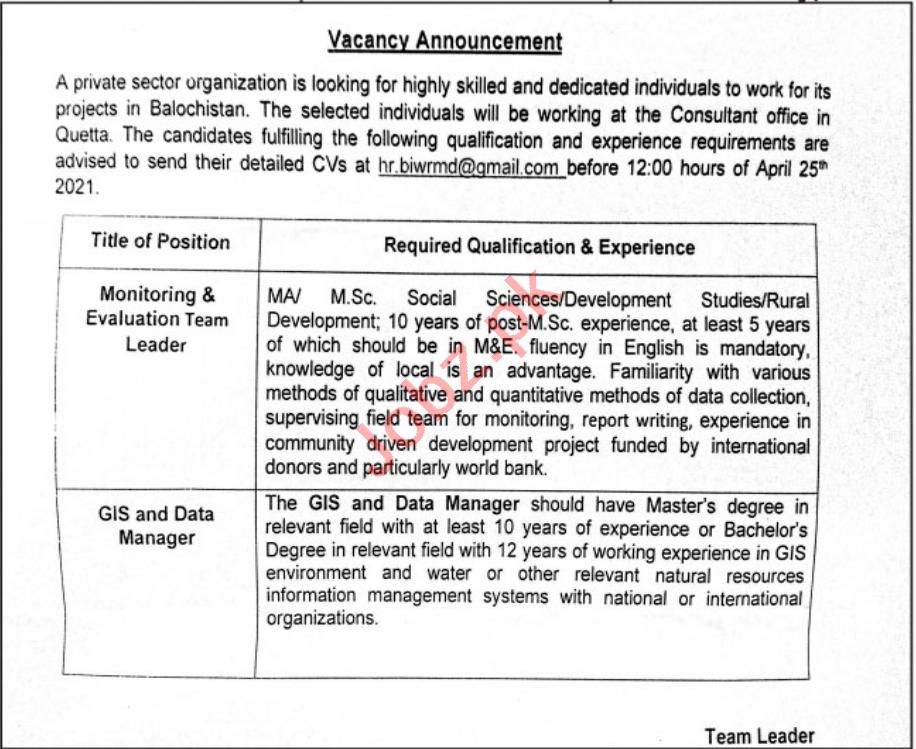 Monitoring & Evaluation Team Leader Jobs 2021 in Quetta