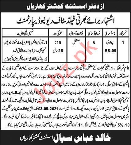 Revenue Department Kharian Jobs 2021 for Patwari