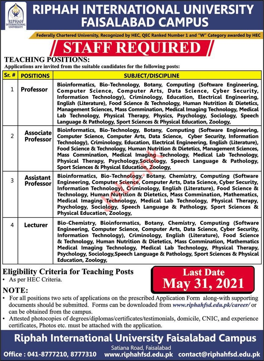 Riphah International University Faisalabad Campus Jobs 2021