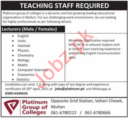 Platinum Group of Colleges Multan Faculty Jobs 2021