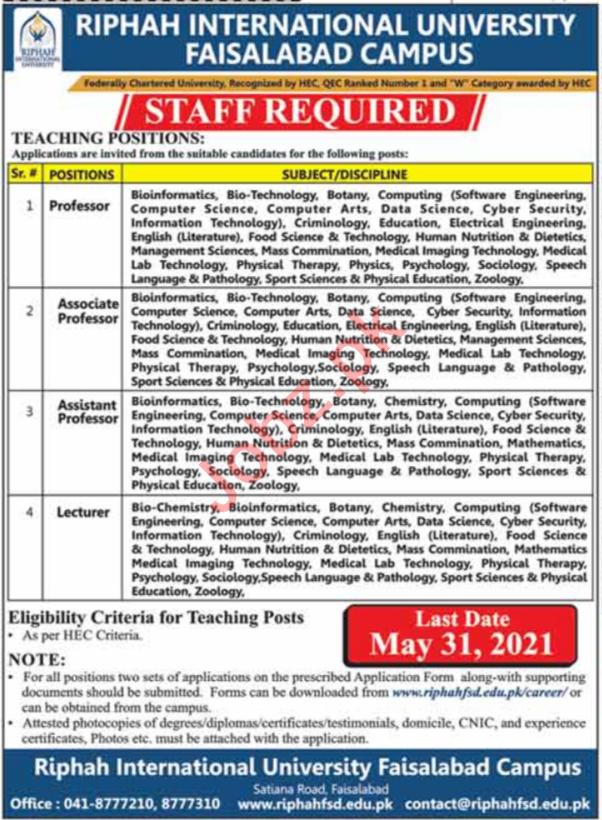 Riphah International University Faisalabad Faculty Jobs 2021