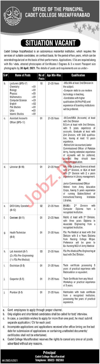 Cadet College Muzaffarabad CCM Jobs for Librarian & Overseer