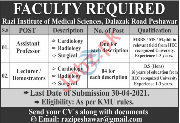 Razi Institute of Medical Sciences RIMS Peshawar Jobs 2021