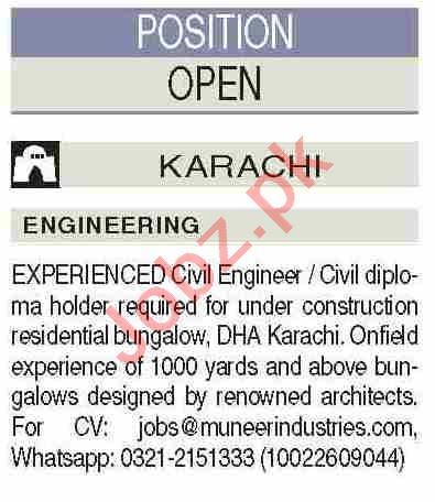 Civil Engineer & Civil Diploma Holder Jobs 2021 in Karachi