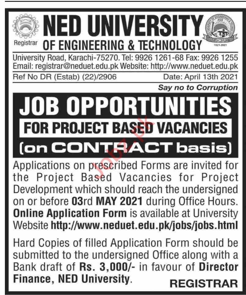 NEDUET NED University of Engineering & Technology Jobs 2021