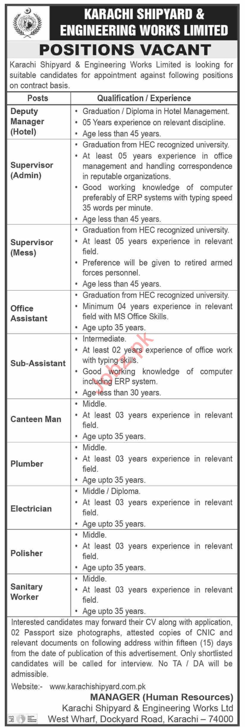 Karachi Shipyard & Engineering Works KS&EW Karachi Jobs 2021