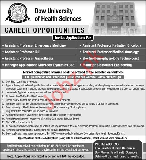 Dow University of Health Sciences Karachi Faculty Jobs 2021