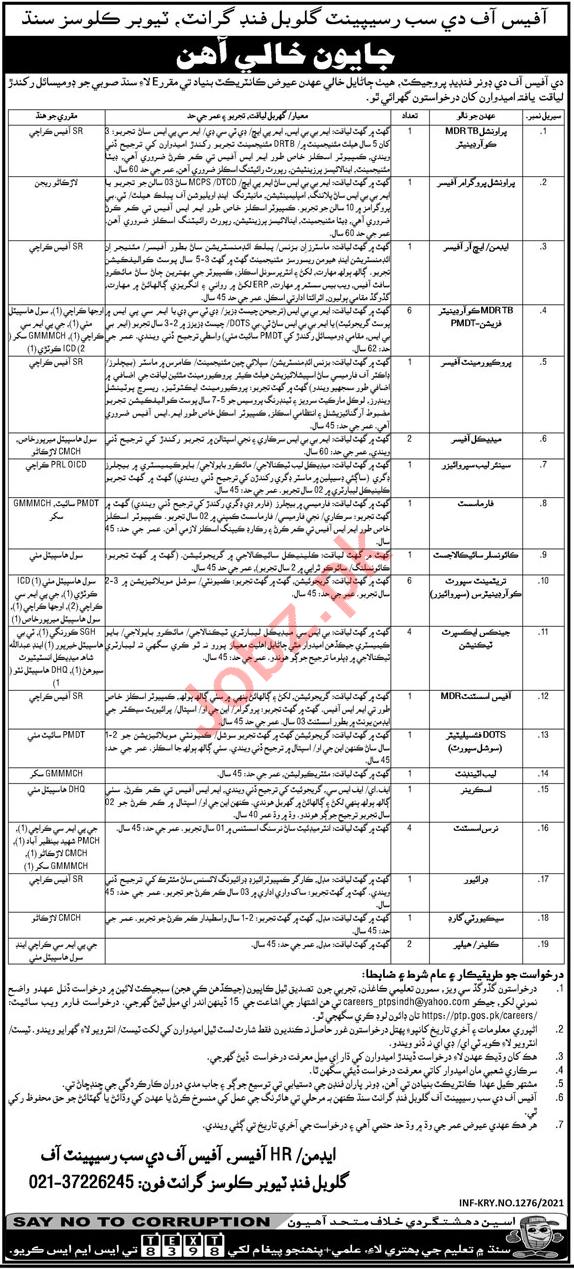 Provincial TB Control Program Sindh Jobs 2021 Technicians